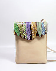 Handmade vintage custom hand painted leather small shoulder bag /handbag for women