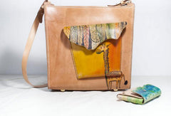 Handmade vintage leather large Satchel bag crossbody shoulder bag /handbag for women