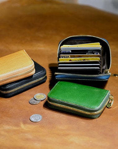 Genuine Leather Wallet Zip Cards Wallet Short Leather Wallet Befold Wallet For Men Women