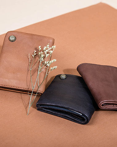 Handmade Short Leather Wallet Befold Wallet For Men Women