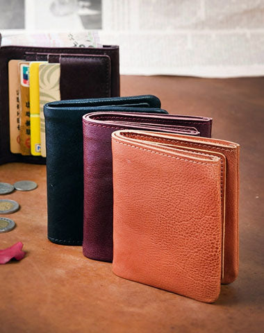 Handmade Wallet Short Leather Wallet Befold Wallet For Men Women