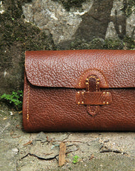 Handmade vintage rustic brown leather clutch long ID cards zip holders wallet for men