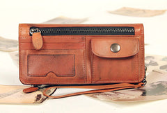Handmade vintage rustic orange leather clutch long ID cards zip holders wallet for men