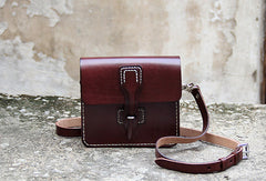 Handmade vintage leather messenger crossbody Shoulder Bag for girl women lady