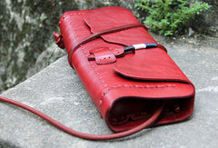 Handmade women vintage leather small clutch crossbody Shoulder Bag for girl