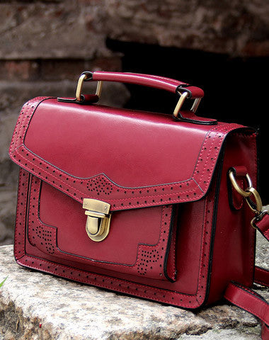 Handmade vintage satchel leather messenger bag white red shoulder bag for women