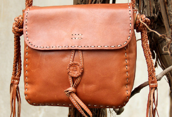 Handmade vintage rustic brown leather crossbody Shoulder Bag for women girl