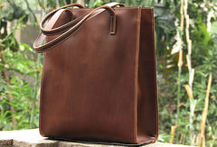 Chestnut----Handmade vintage rustic leather normal tote bag shoulder bag handbag for women