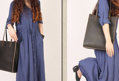 Handmade vintage womens leather tote bag shoulder bag for women