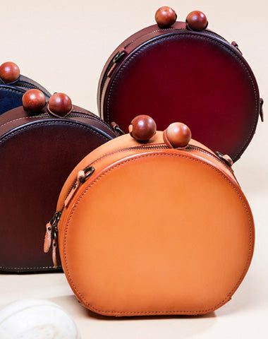 Handmade Genuine Leather Round Handbag Bag Crossbody Bag Shoulder Bag Purse For Women