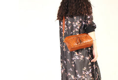 Handmade vintage rustic leather tassels crossbody Shoulder Bag for girl women lady