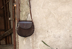 Handmade vintage rustic retro leather crossbody Shoulder Bag for girl women lady