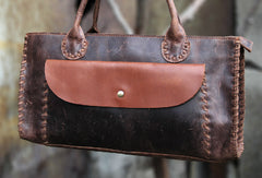 Handmade vintage rustic modern dark brown leather shoulder bag handbag for women