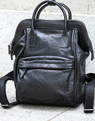Genuine handmade Handbag Leather backpack bag shoulder bag black  women leather purse