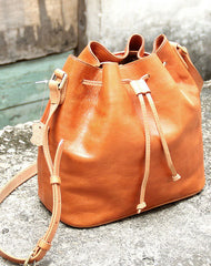 Handmade vintage bucket leather black bag orange shoulder bag crossbody for women