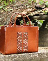 Handmade vintage rustic leather normal size tote bag shoulder bag handbag for women