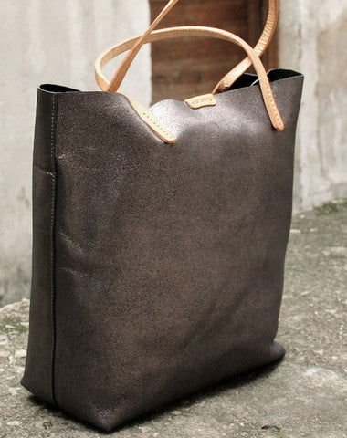 Handmade vintage Dark gray sliver leather normal tote bag shoulder bag handbag for women