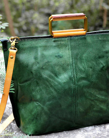Handmade vintage handbag green black shoulder bag tote bag