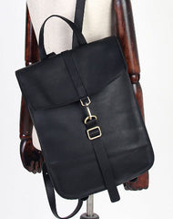 Handmade Leather cute backpack bag shoulder bag black women leather purse