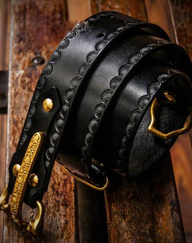 Handmade Black Leather Mens Belts Cool Leather Men Belt for Men