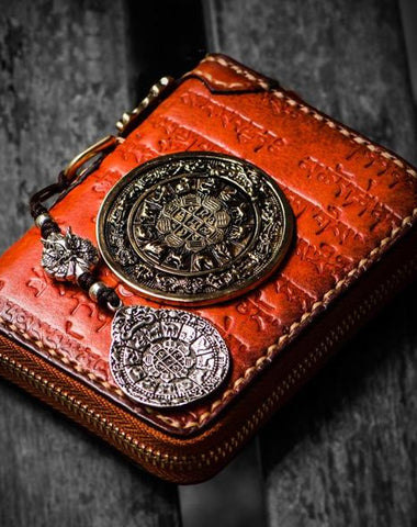 Handmade Leather Tibetan Tooled Mens billfold Wallet Cool Chain Wallet Small Biker Wallets for Men