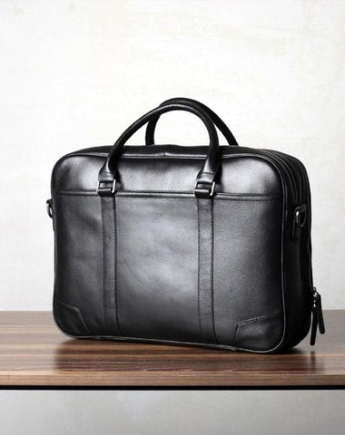 Black Leather Mens Cool Briefcase Work
