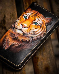 Handmade Leather Men Tooled Tiger Cool Leather Clutch Wallets Long Wallets for Men