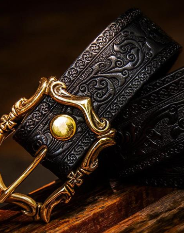 Handmade Black Leather Mens Belts Custom Cool Leather Men Belt for Men