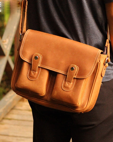 Vintage Leather Messenger Bags Cool Travel Messenger Bag Shoulder Bag for Men