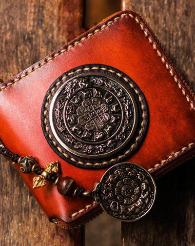 Handmade Leather Small Tibetan Tooled Mens billfold Wallets Cool Chain Wallet Biker Wallet for Men