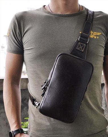 Leather Mens Cool Sling Bag Shoulder Sling Bag Chest Bag for men