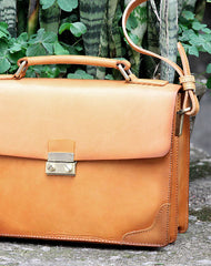 Handmade vintage womens leather messenger bag beige shoulder bags for women
