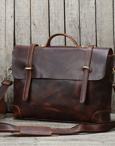 Handmade leather men Briefcase messenger large vintage shoulder laptop bag vintage bag