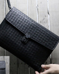 Genuine Leather braided large clutch leather men phone pad zip clutch vintage wallet for men