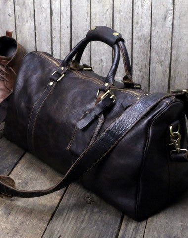 e8e6379d5 Cool Vintage Leather Mens Duffle Bag Weekender Bag Overnight Bag Trave