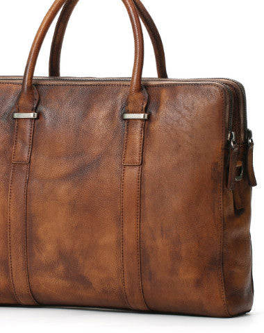 Brown leather men Briefcase large vintage shoulder laptop Briefcase Work Briefcase