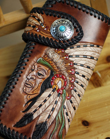 Handmade Tooled chain wallet biker wallet brown leather Indian chief carved biker wallet bifold Long wallet for men