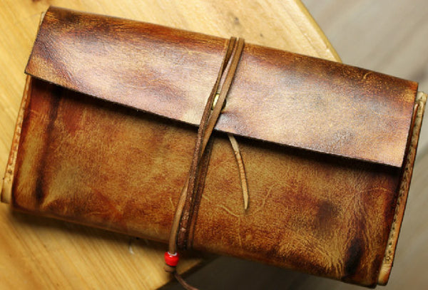 Handmade men vintage rustic simple envelope Stitched leather long wallet for men
