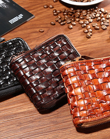 Handmade short leather wallet men zip braided leather short wallet for men him