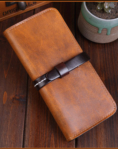Handmade long wallet leather men Tan yellow  vintage wallet for men