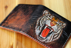 Handmade billfold leather wallet men tiger carved leather billfold wallet for men him