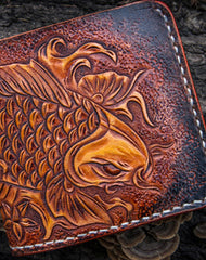 Handmade mens leather Tooled Small wallet carp lotus short wallet for men