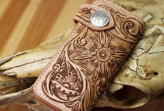 Handmade biker wallet leather floral tooled biker wallet chian wallet bifold Long wallets for men
