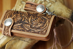Handmade biker wallet leather floral carved biker wallet chain bifold Long wallet purse clutch for men