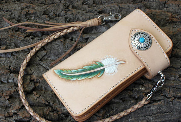 Handmade biker wallet leather vintage feather biker wallet chain Long wallet clutch purse for men