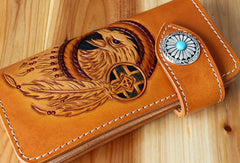 Handmade biker wallet leather eagle carved brown biker wallet chain Long wallet clutch for men