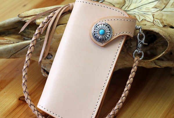Handmade biker wallet leather vintage beige biker wallet chian Long wallet clutch purse for men