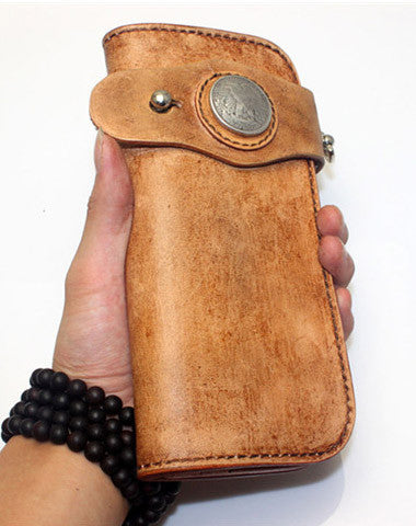 Handmade biker wallet vintage men biker wallet bifold leather Long wallet purse clutch for men