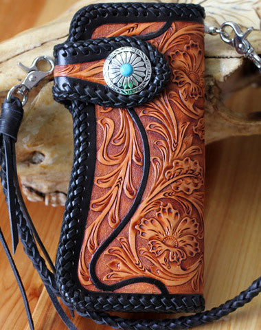 Handmade biker chain wallet tooled floral biker wallet leather Long wallet for men