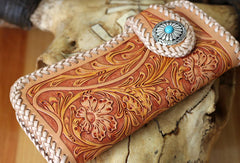 Handmade biker wallet vintage floral men biker wallet leather Long wallet purse clutch for men